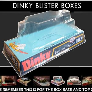 Dinky Toys 103 Spectrum Patrol Car (SPC) Thick Font Version Captain Scarlet Blister/Bubble Repro Box